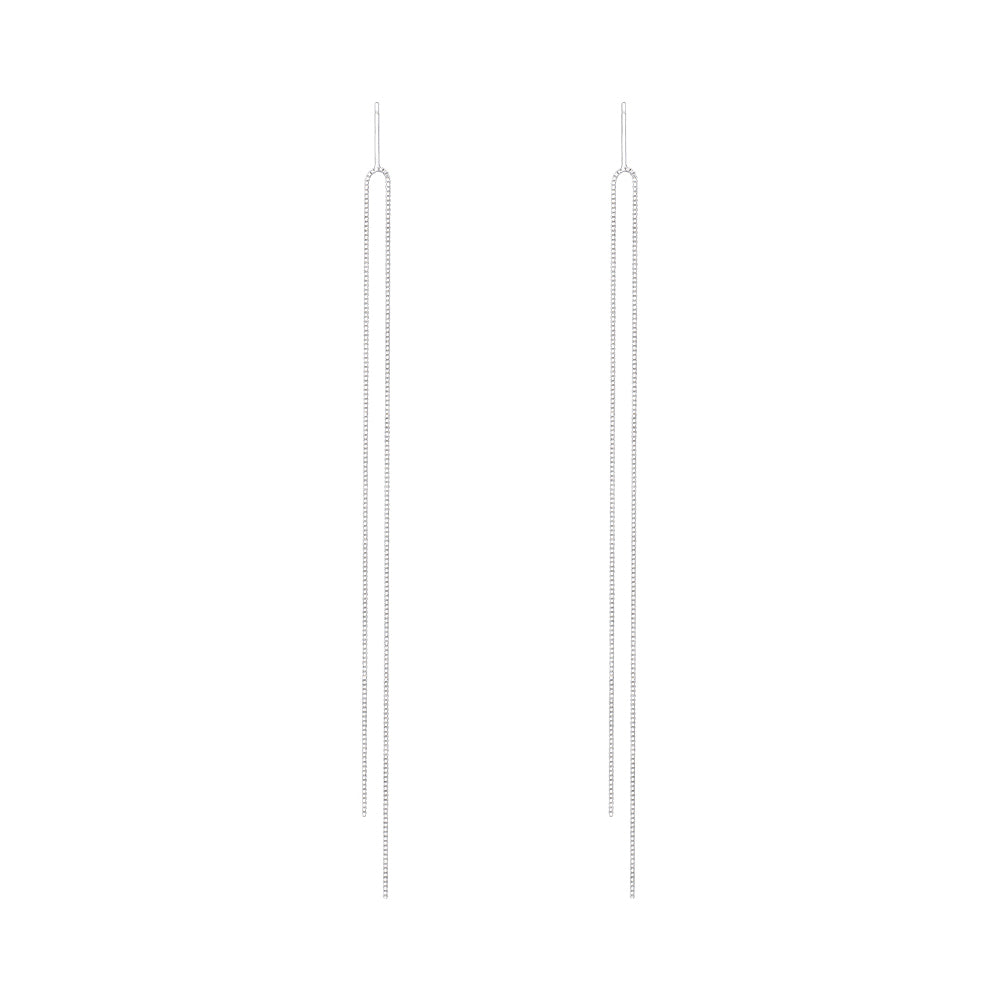 925 Sterling Silver Tassel Threader Drop Earrings