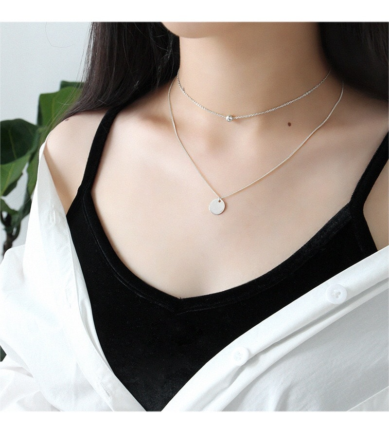 Sterling Silver Disc Chokers Layered 18K Gold Plated Necklace 3