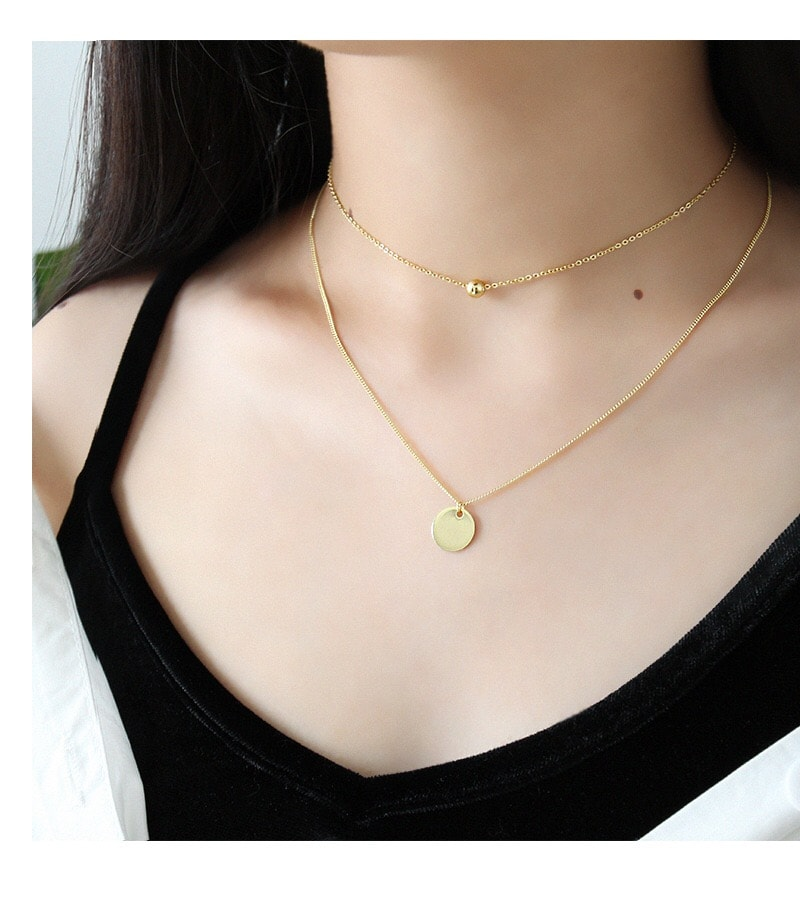 Sterling Silver Disc Chokers Layered 18K Gold Plated Necklace 2