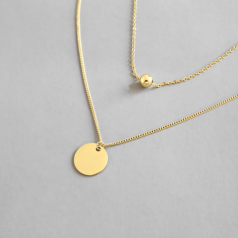 Sterling Silver Disc Chokers Layered 18K Gold Plated Necklace