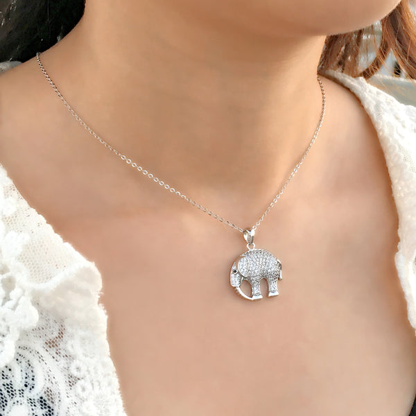 925 Sterling Silver Fashion CZ Elephant Necklace