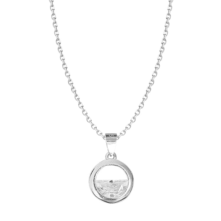 Sterling Silver Fashion Unique CZ Stone Pendant necklace 3