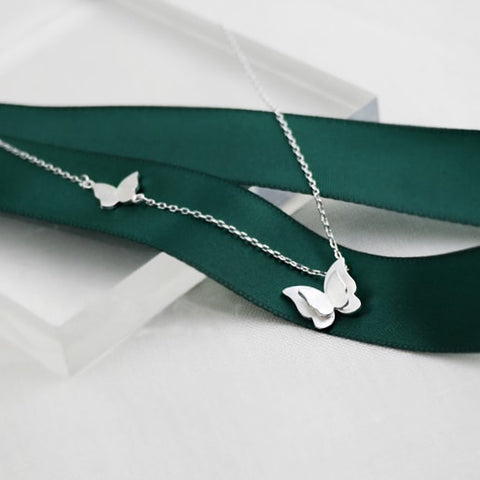 Sterling Silver butterfly Collarbone Chain Necklace Jewelry