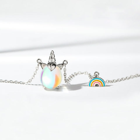 Colorful Unicorn Rainbow Pendant Necklace