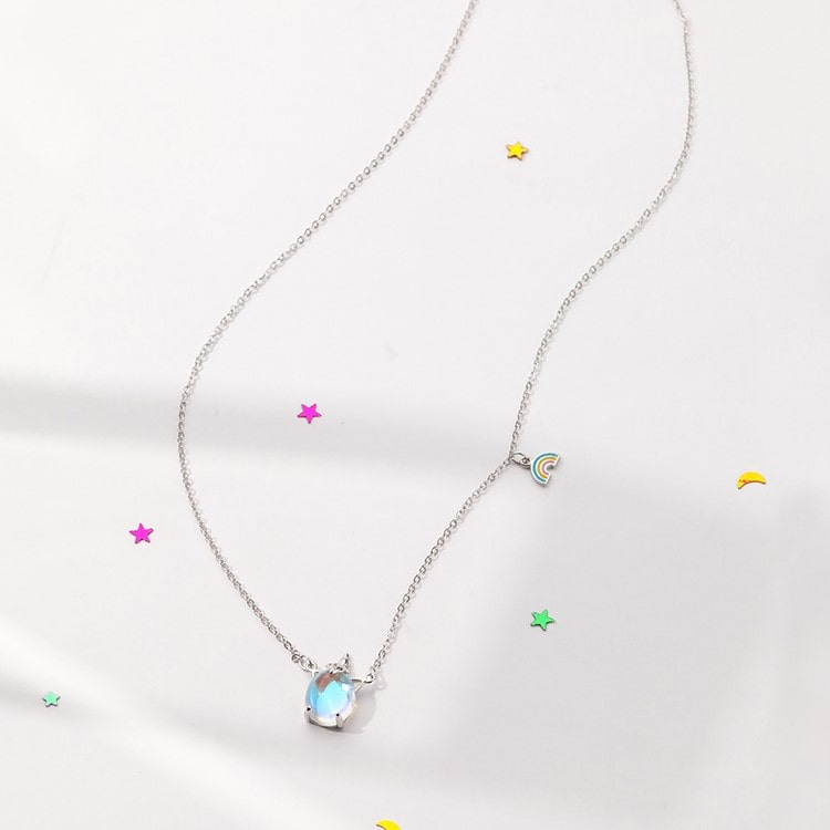 Colorful Unicorn Rainbow Pendant Necklace 3