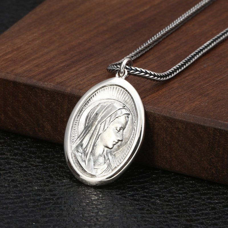 925 Sterling Silver Virgin Mary Medal Pendant