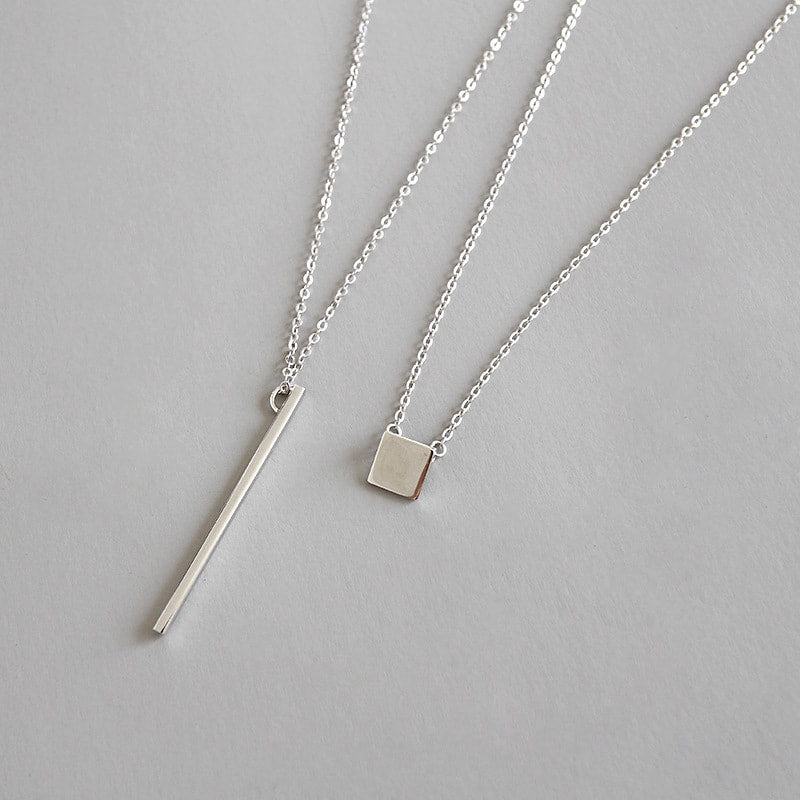 Sterling Silver Square Bar Double Layer Necklace