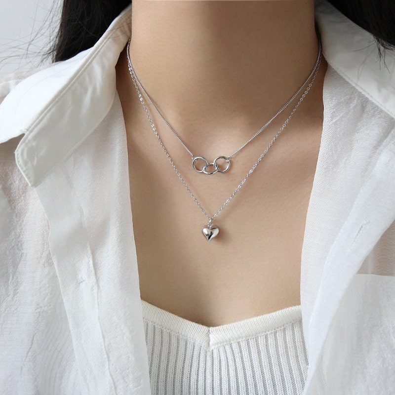 Sterling Silver Heart Double Layer Choker Necklace 4