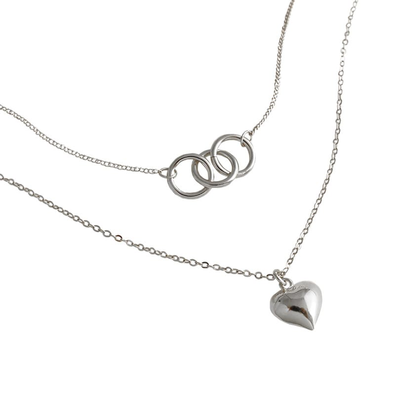 Sterling Silver Heart Double Layer Choker Necklace 5