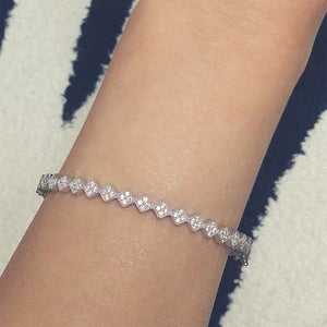 Sterling Silver Fancy Cubic Zirconia Eternity Bangle - Jewelry - Prjewel.com - 2