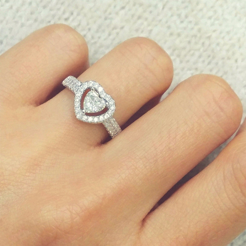 Stunning 925 Sterling Silver Heart Cubic Zirconia Ring 10mm - Jewelry - Prjewel.com - 1