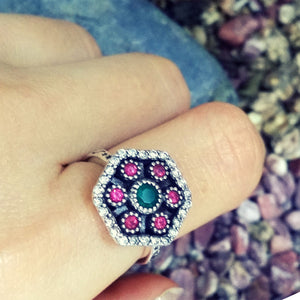 Magnificent 925 Sterling Silver Cubic Zirconia Multi Color Crystal Ring - Jewelry - Prjewel.com - 2