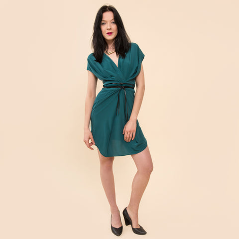 Annabelle Uniform Michelle Wrap Dress teal