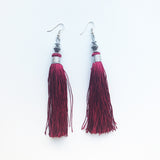 Moroccan tassel shoulder dusters earrings - periwinkle
