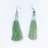Moroccan tassel shoulder dusters earrings - turquoise