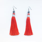 Moroccan tassel shoulder dusters earrings - saffron
