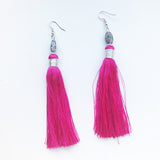 Moroccan tassel shoulder dusters earrings - teal
