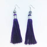 Moroccan tassel shoulder dusters earrings - green