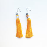 Moroccan tassel shoulder dusters earrings - grey