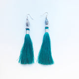Moroccan tassel shoulder dusters earrings - purple