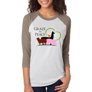 Graze in Peace -Unisex Tri-Blend 3/4 Raglan - Ruff Life Rescue Wear