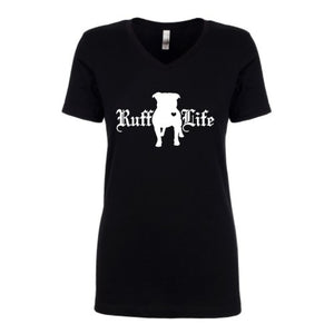 Ladies Pitty Ruff Life V-Neck - Ruff Life Rescue Wear