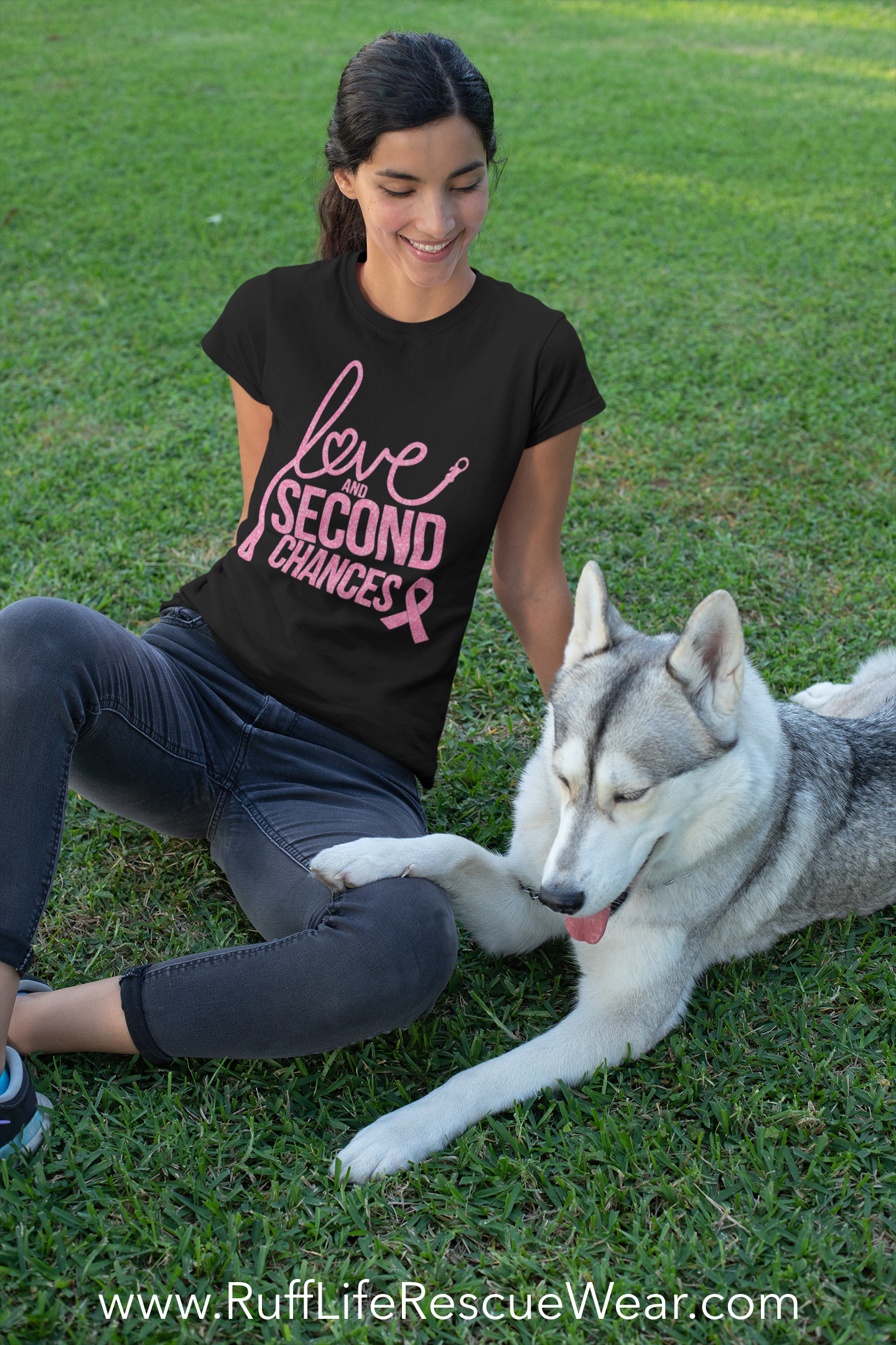 Love and Second Chances Breast Cancer Awareness Ladies Slim Fit Tee - Ruff Life Rescue Wear