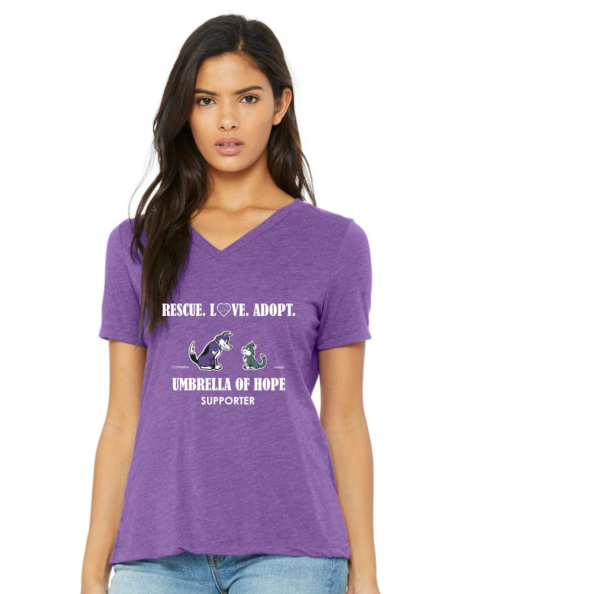 Umbrella of Hope Rescue-Relaxed Fit V-Neck - Ruff Life Rescue Wear