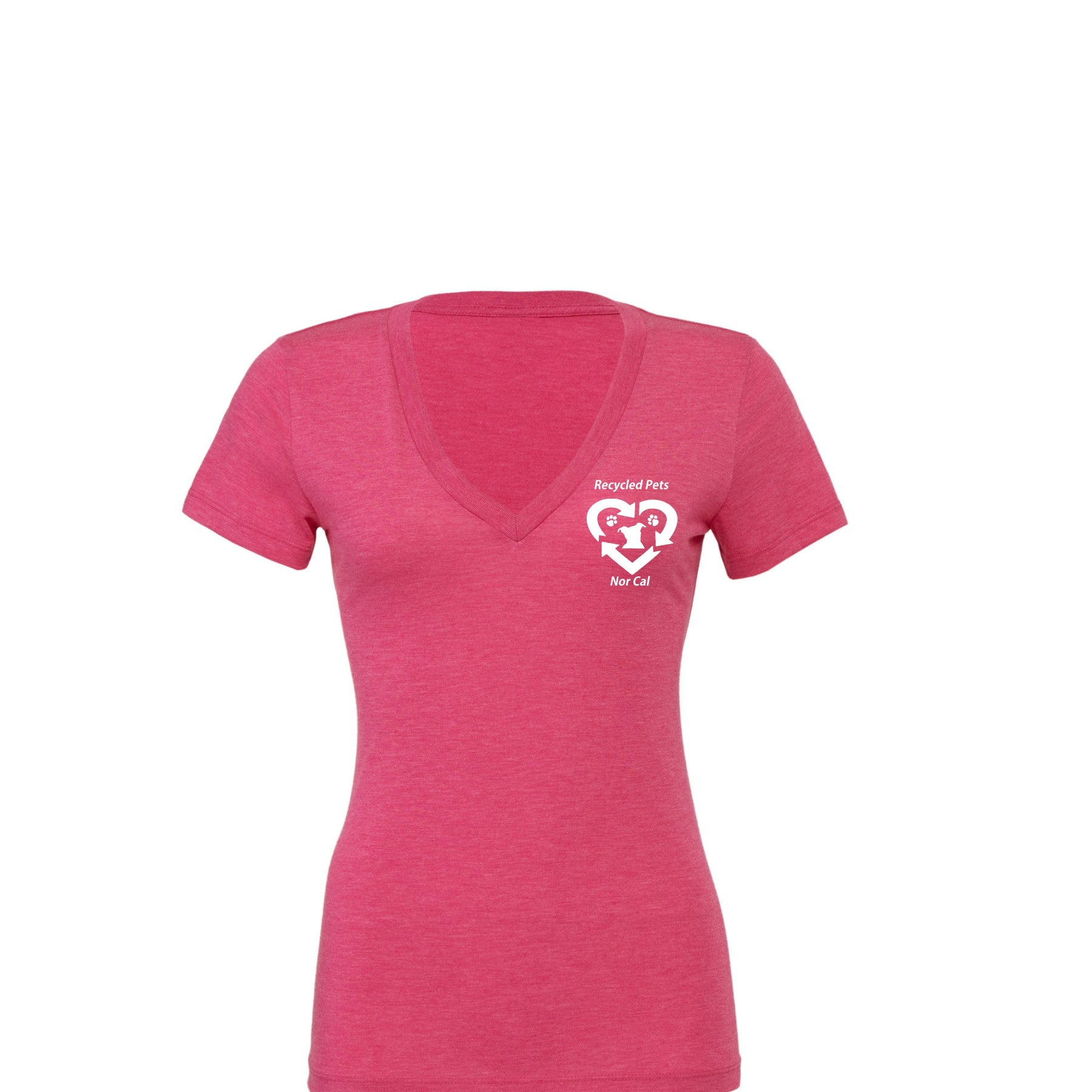 Recycled Pets Women's Tri-Blend Deep V-Neck T-Shirt - Ruff Life Rescue Wear