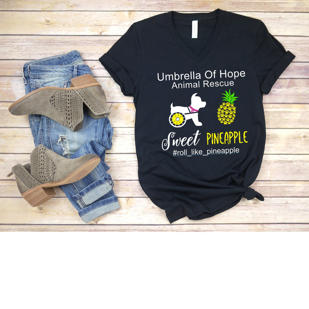 Sweet Pineapple Umbrella of Hope Relaxed Fit V-Neck - Ruff Life Rescue Wear