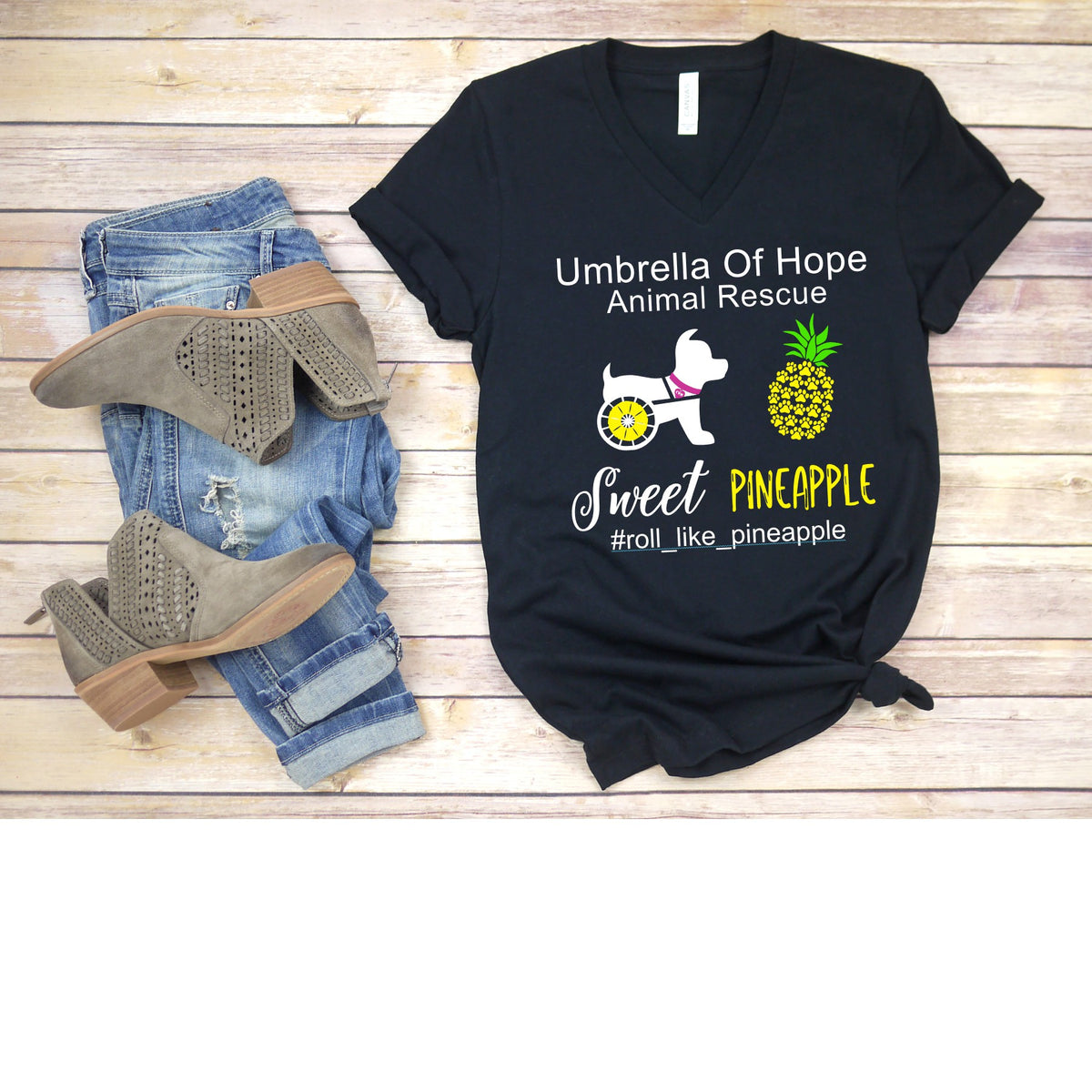 Sweet Pineapple Umbrella of Hope Relaxed Fit V-Neck