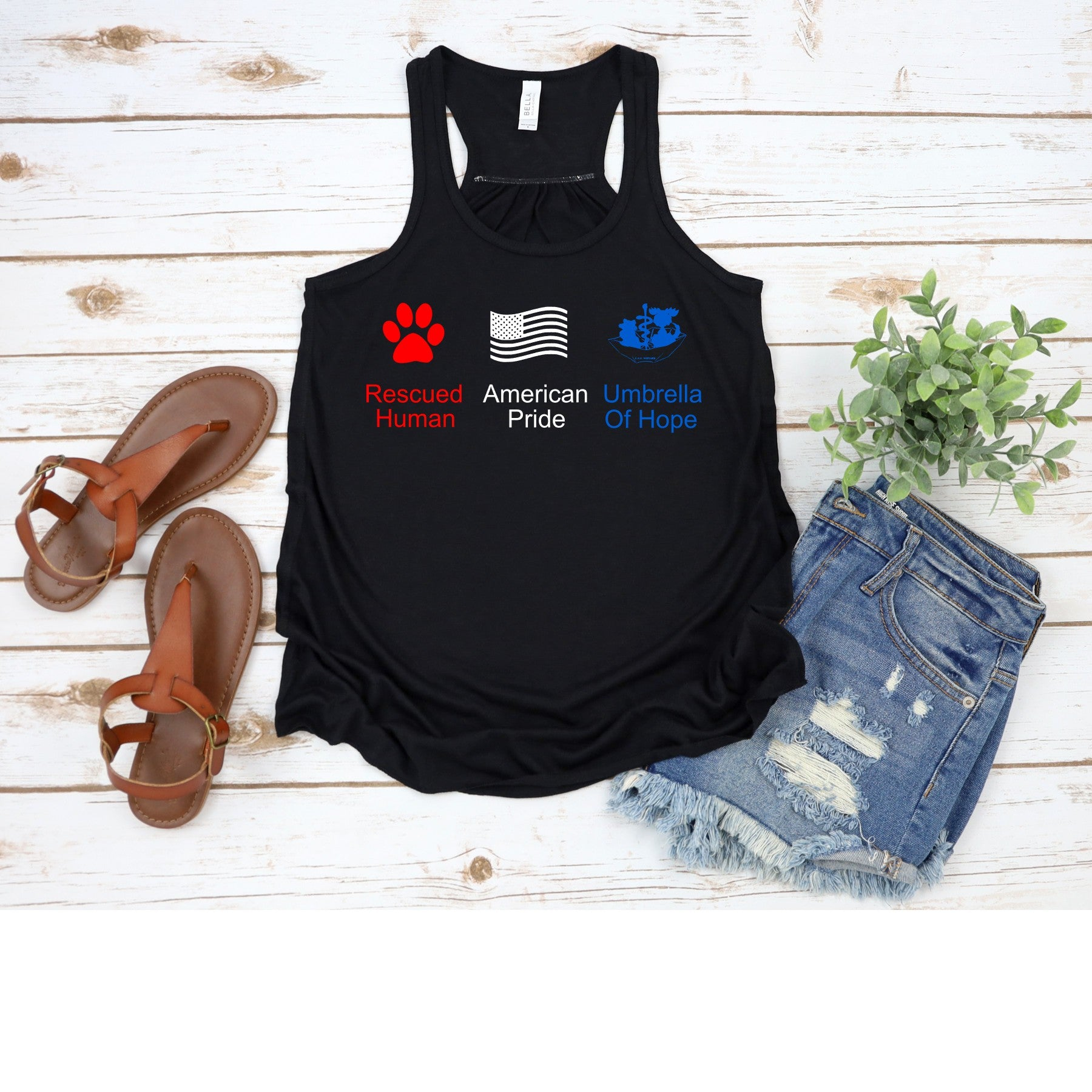 4th of July Umbrella of Hope Flowy Tank - Ruff Life Rescue Wear