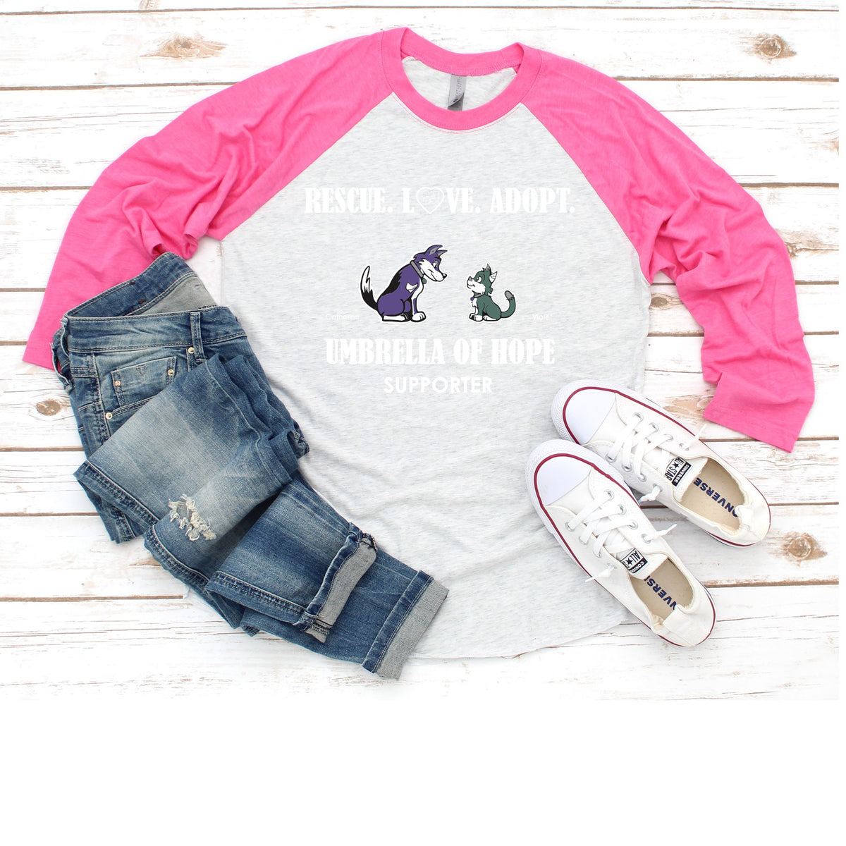 Umbrella of Hope Rescue - Raglan Tee - Ruff Life Rescue Wear