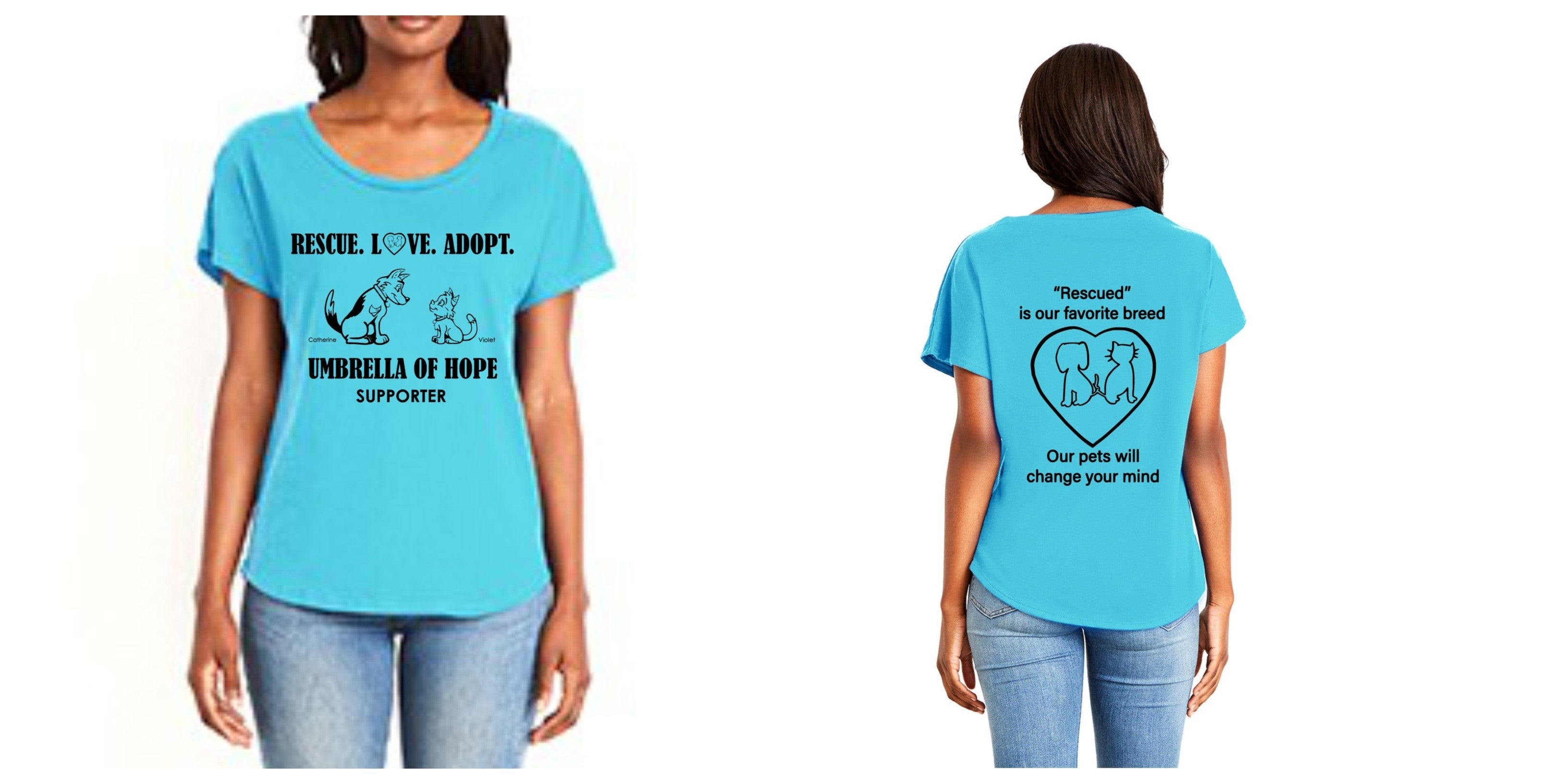 Umbrella of Hope Rescue - Ladies Tee - Ruff Life Rescue Wear