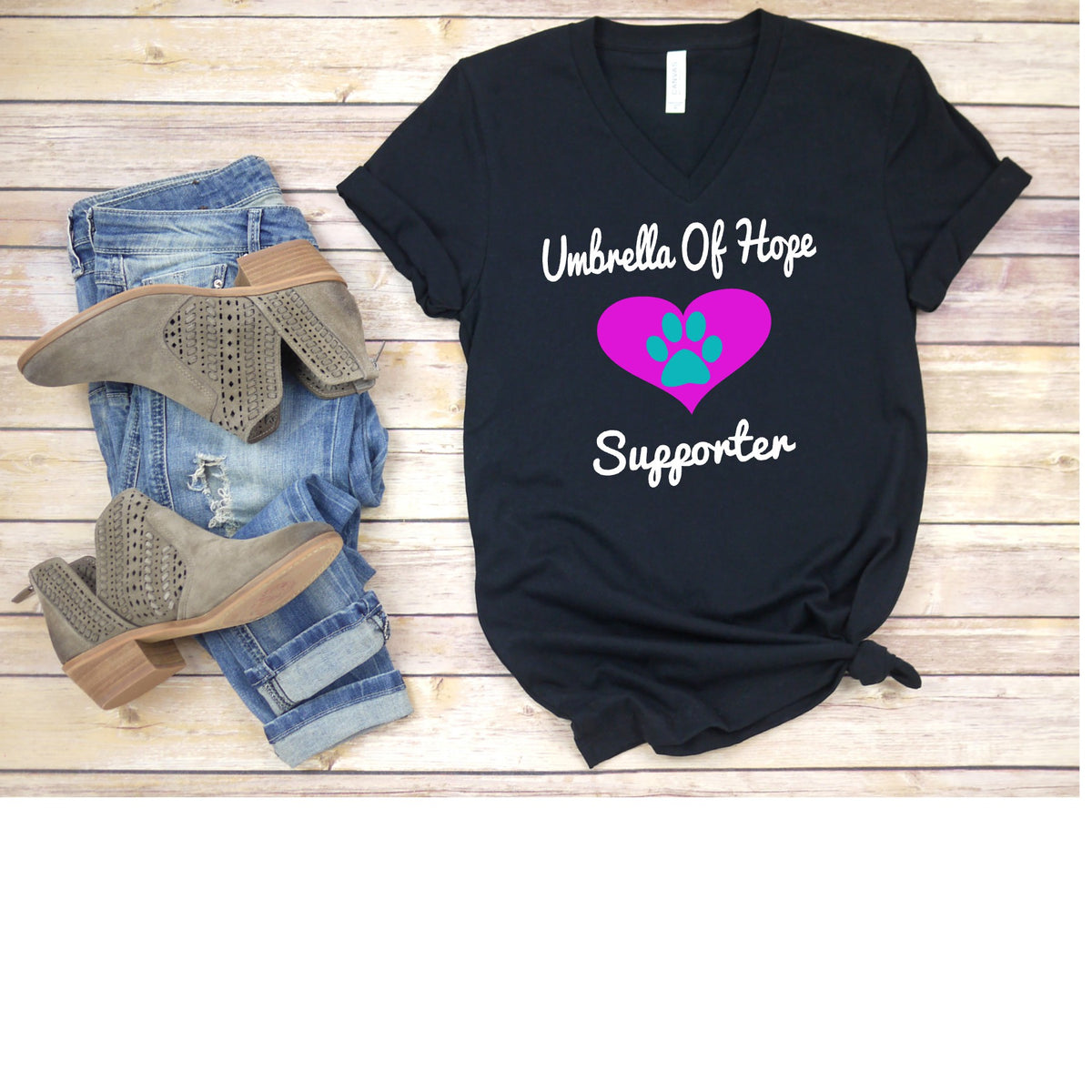Heart Umbrella of Hope Walk Alone-Relaxed Fit V-Neck - Ruff Life Rescue Wear