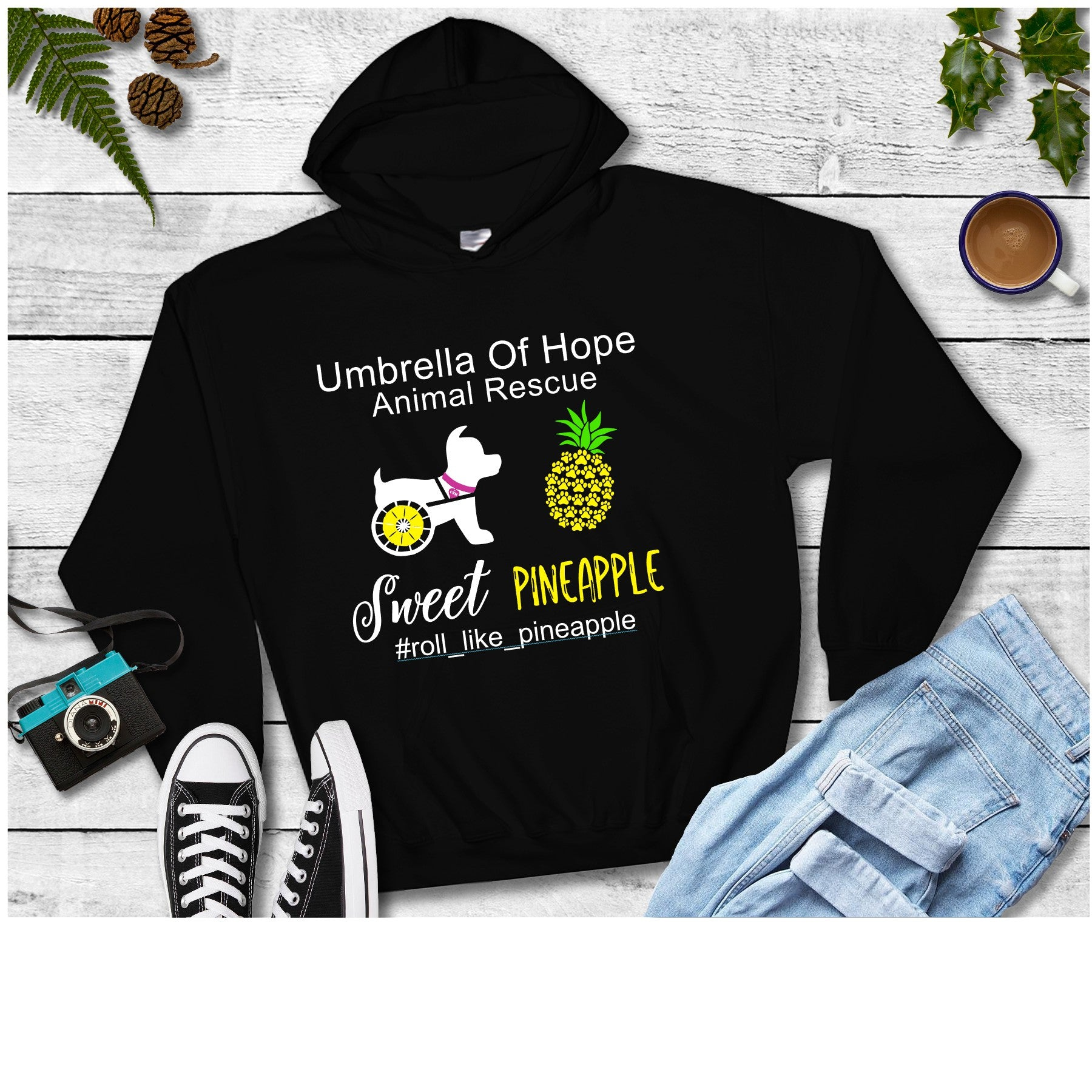 Sweet Pineapple Umbrella of Hope - Unisex Pullover Hoodie - Ruff Life Rescue Wear