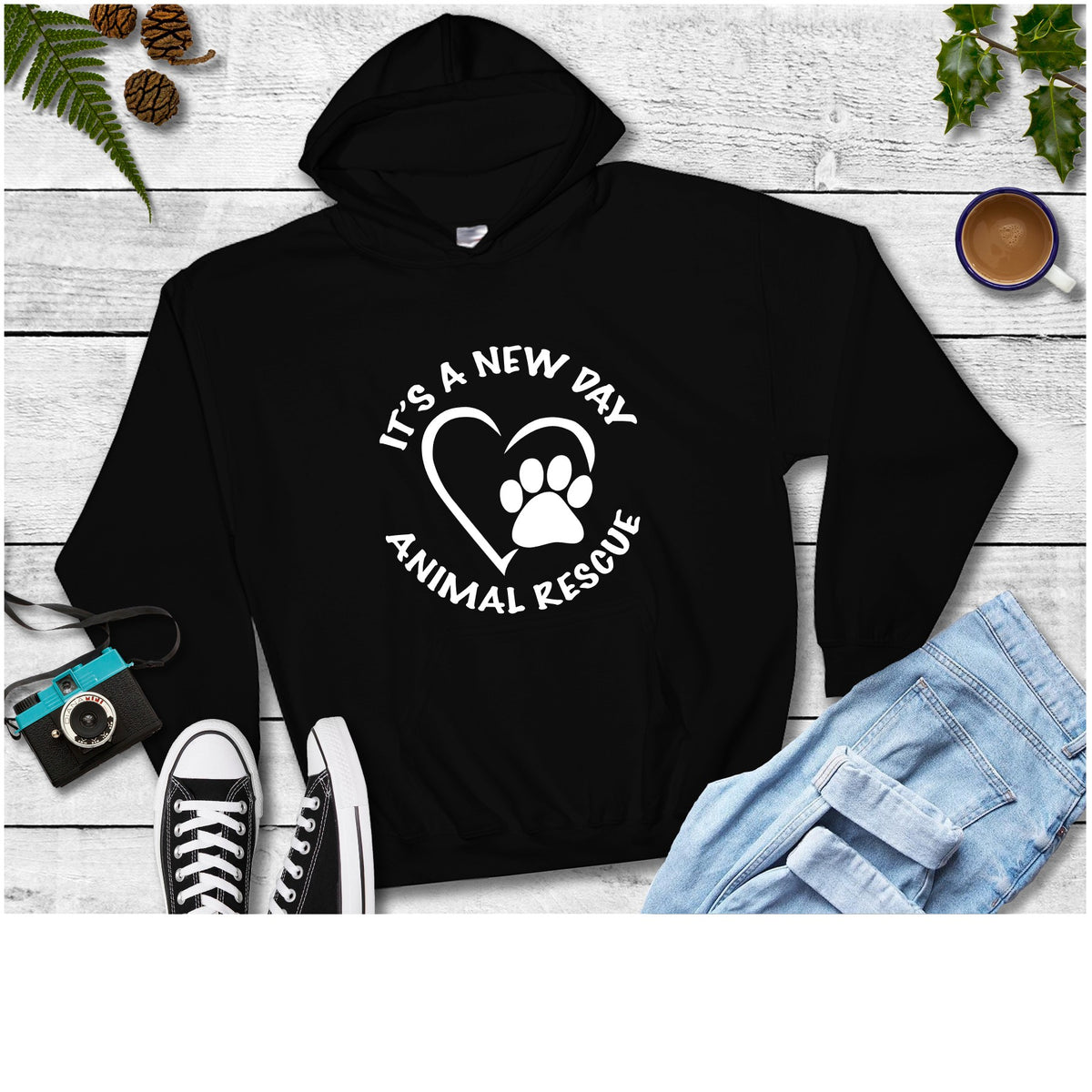 It's A New Day Unisex Pullover Hoodie - Ruff Life Rescue Wear