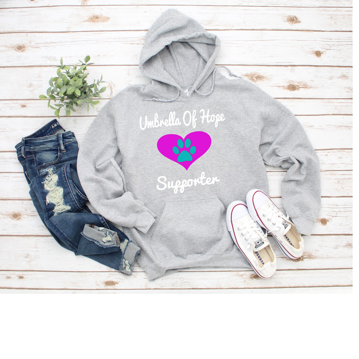 Heart Umbrella of Hope - Unisex Pullover Hoodie - Ruff Life Rescue Wear