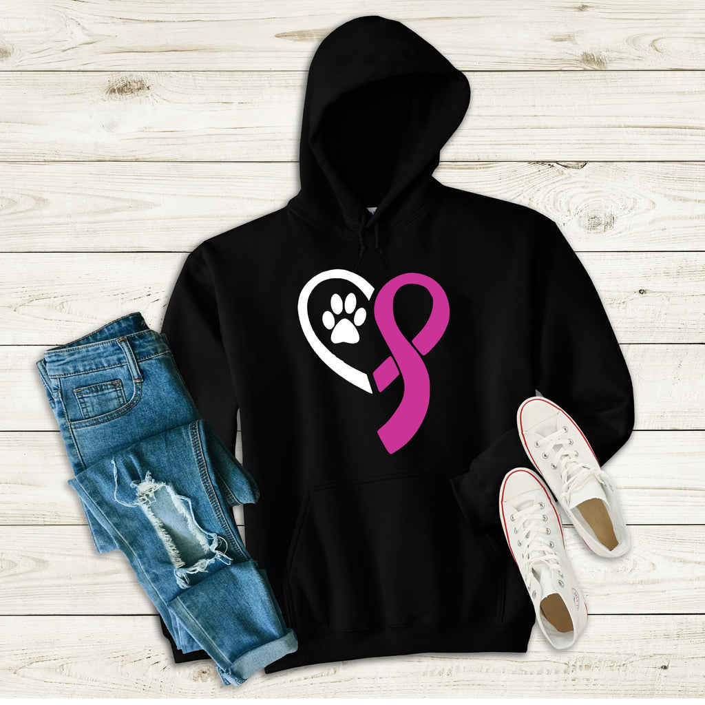 Breast Cancer Awareness Recycled Pets Pull Over Hoodie - Ruff Life Rescue Wear