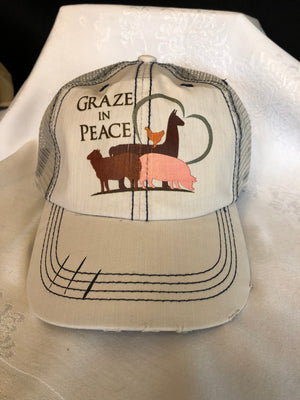 Graze in Peace Distressed Trucker Cap - Ruff Life Rescue Wear