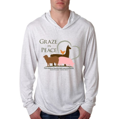 Graze in Peace Unisex Triblend Long-Sleeve Hoody - Ruff Life Rescue Wear