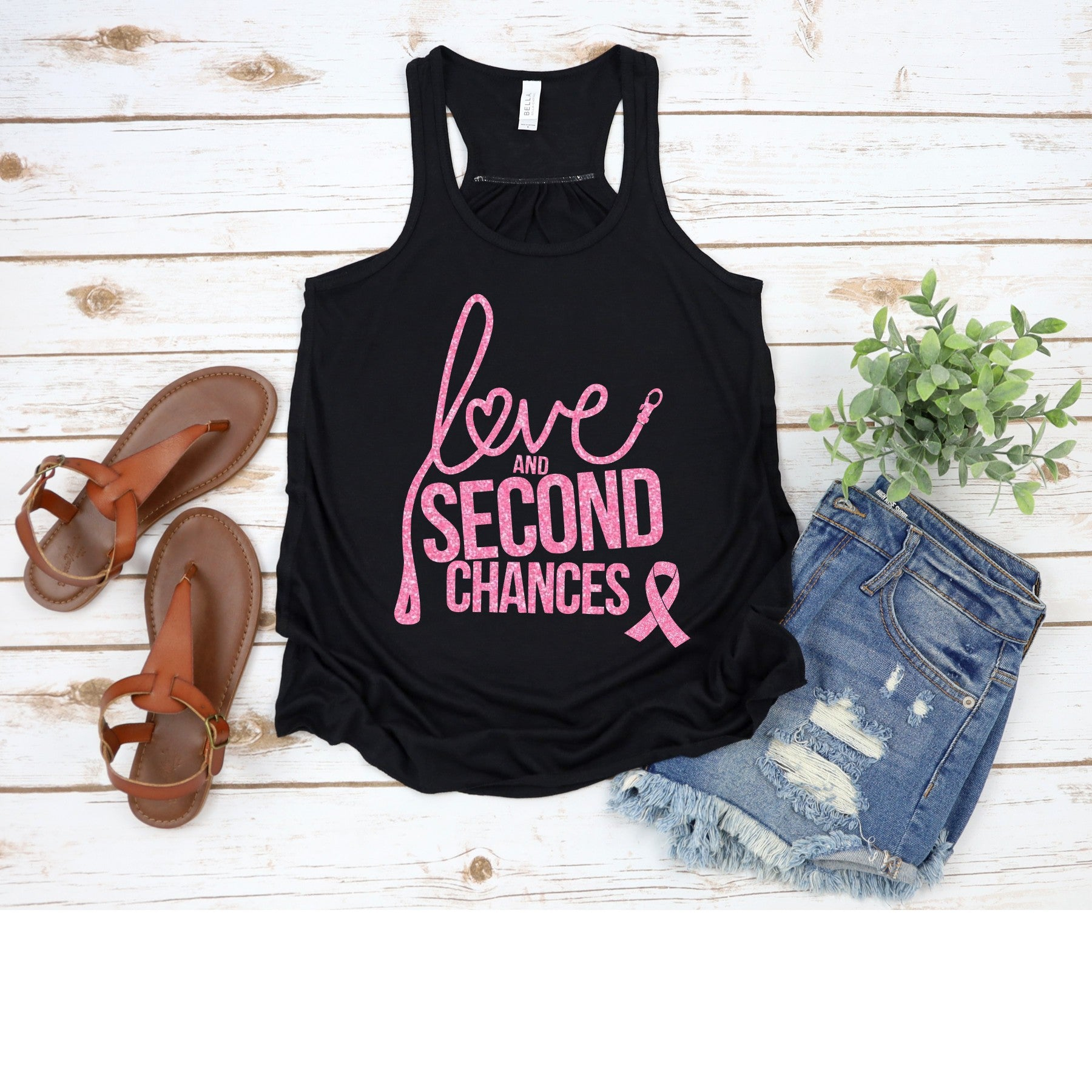 Love and Second Chances Women's Breast Cancer Awareness Racerback Tank - Ruff Life Rescue Wear