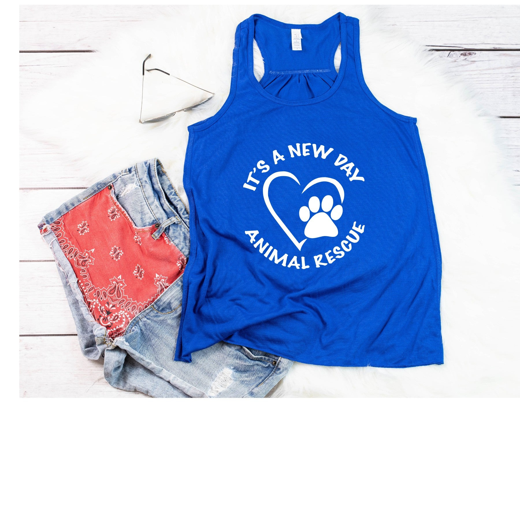 It's A New Day Women's Racerback Tank - Ruff Life Rescue Wear