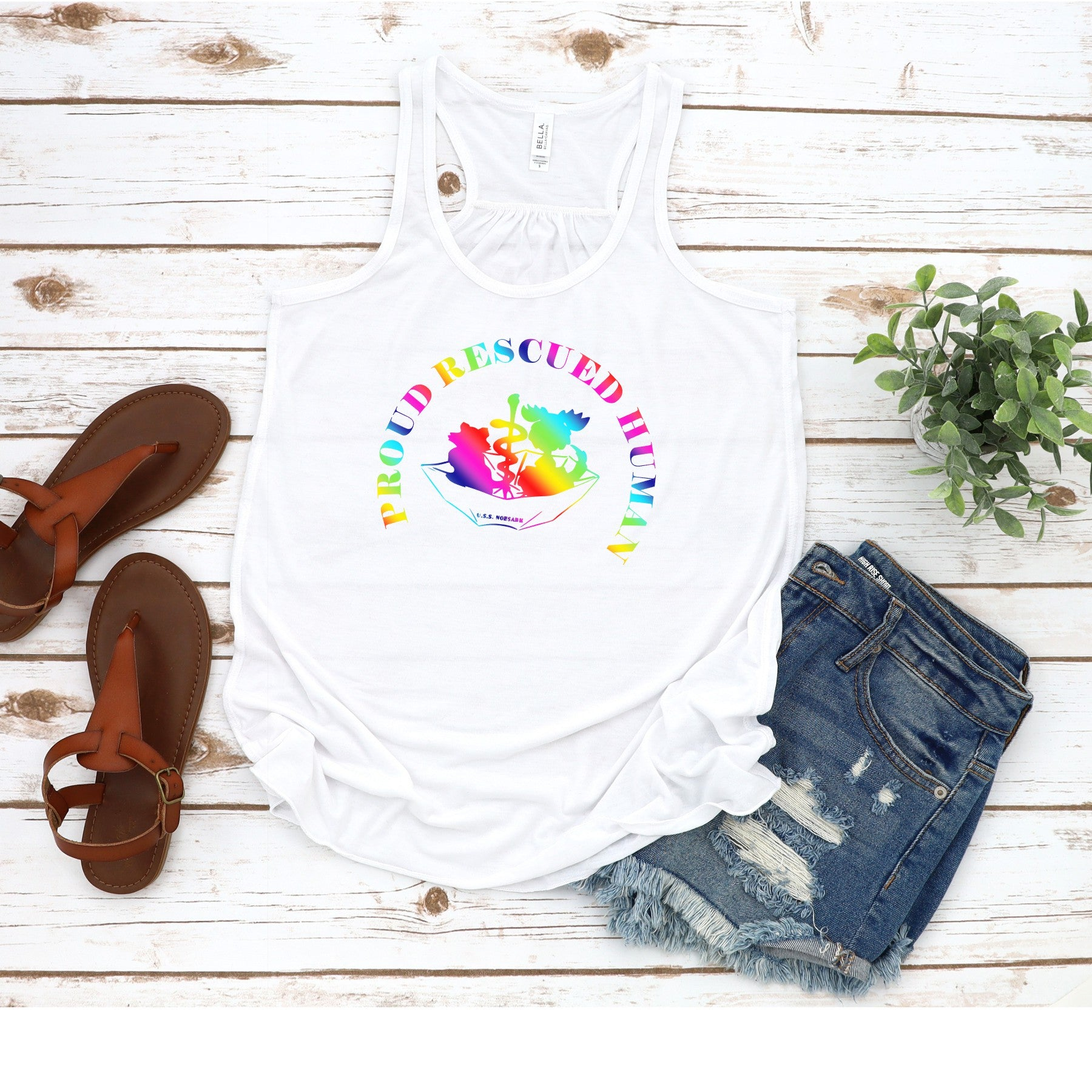 Pride Umbrella of Hope - Flowy Tank - Ruff Life Rescue Wear