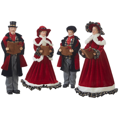185 christmas caroler set red with plaid