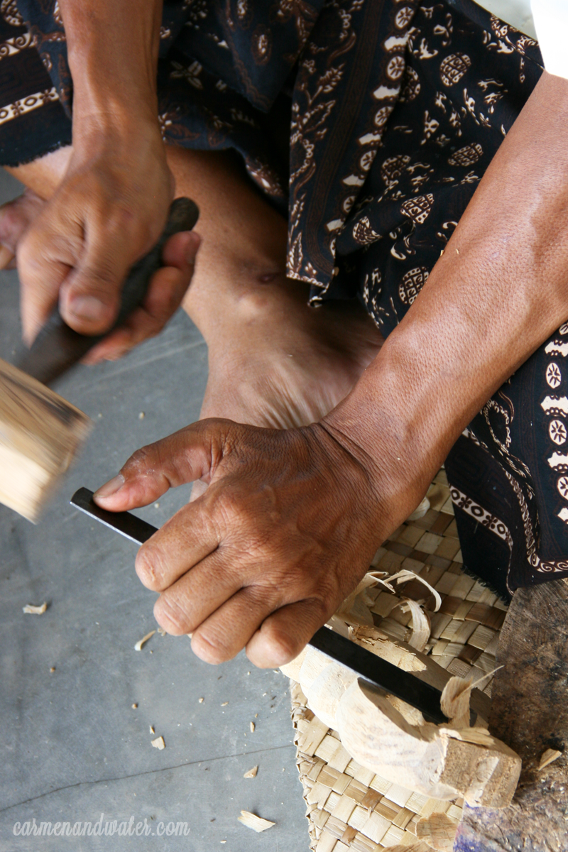 Pak Wayan's job is a wood carver and also as the occasional wood carving teacher.