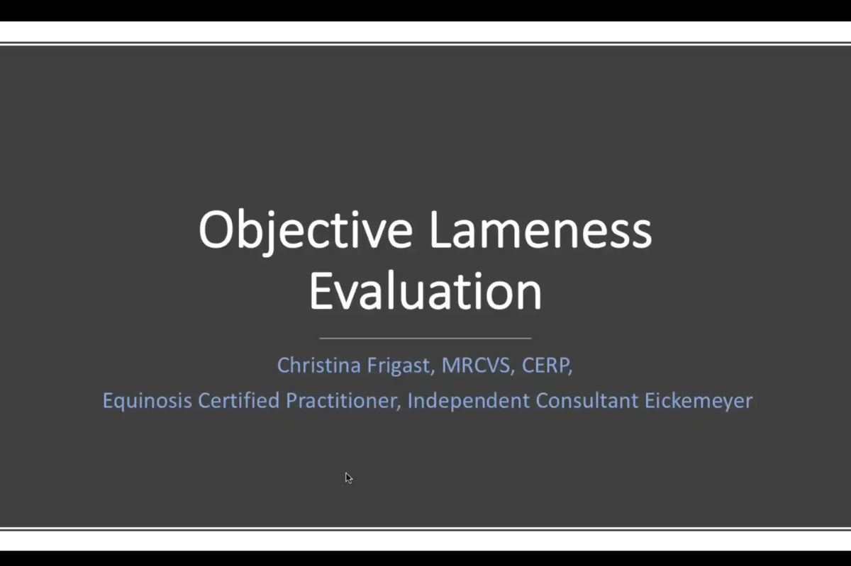 Introduction to Objective Lameness Evaluation - Applications in Equine Practice