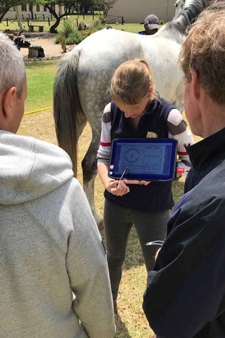 PICTURED: Equinosis Certified Practitioner Dr. Christina Frigast teaches others about the Equinosis Q with Lameness Locator at the 2018 Veterinary Professional Development course in South Africa.
