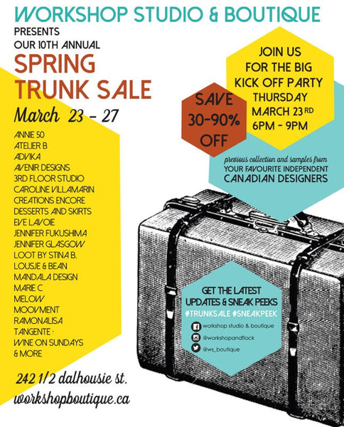 It's your last chance! Workshop's Trunk Sale ends at 7 tonight.