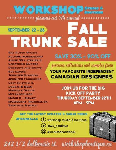 Workshop Boutique's Fall Trunk Sale will be September 22-26!